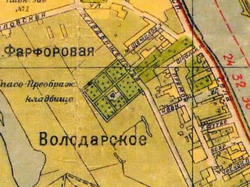 Карта Фарфоровского кладбища, фото с сайта Митрофаньевского союза