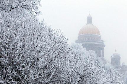 зима петербург снег исаакиевский собор
