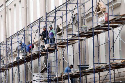 ремонт фасадов в переулке Гривцова строительные леса