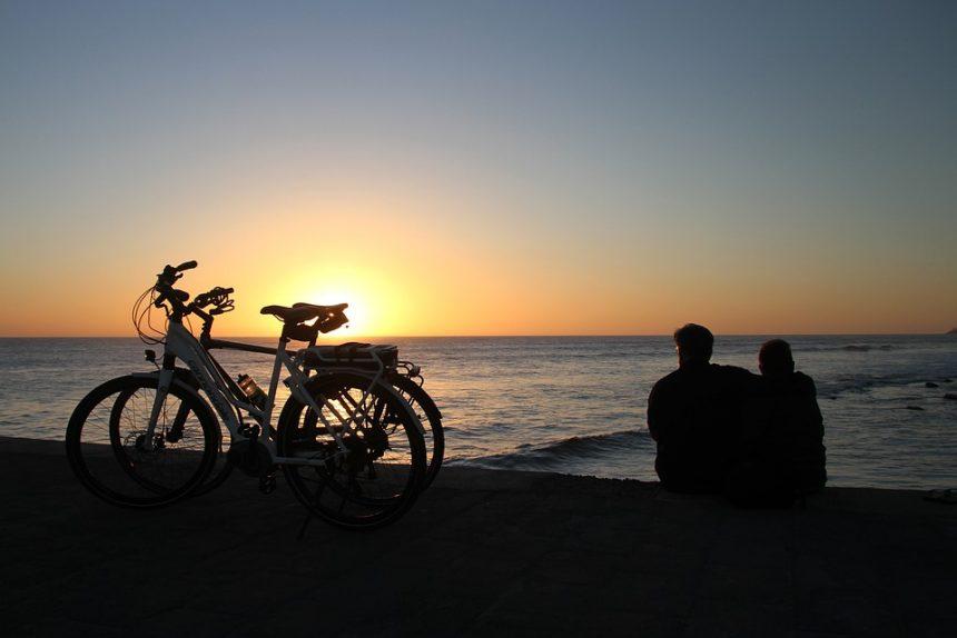 закат, велотуризм, море, отдых, любовь