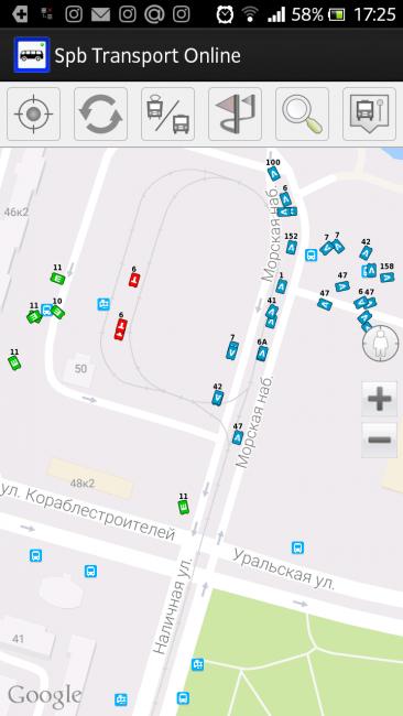 приложение Spb Transport Online