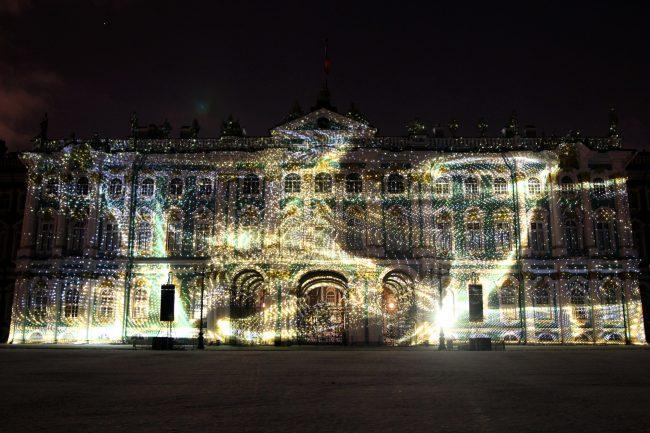 световое проекционное шоу мистерия света эрмитаж дворцовая площадь