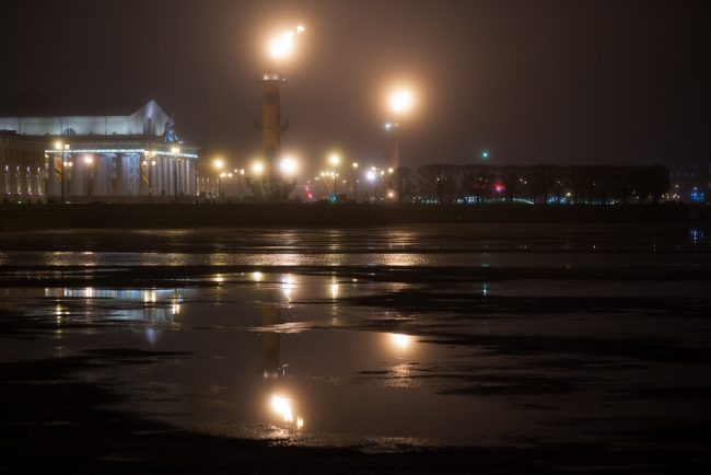 туман зажженные ростральные колонны стрелка васильевского острова