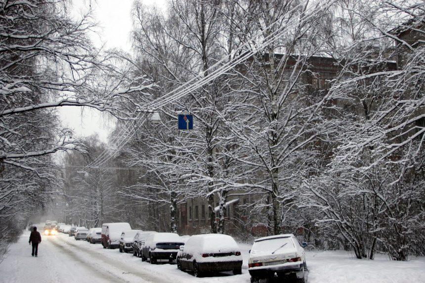 снегопад гданьская улица