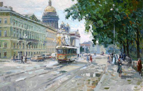 Сергей Ляхович. Трамвай ЛМ-57 на Адмиралтейском проспекте.