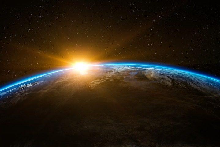 восход планета земля солнце космос солнечная система вселенная астрономия