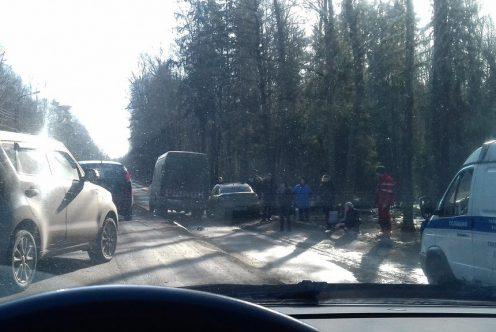 Под Петербургом вмассовом ДТП пострадали три пассажира маршрутки