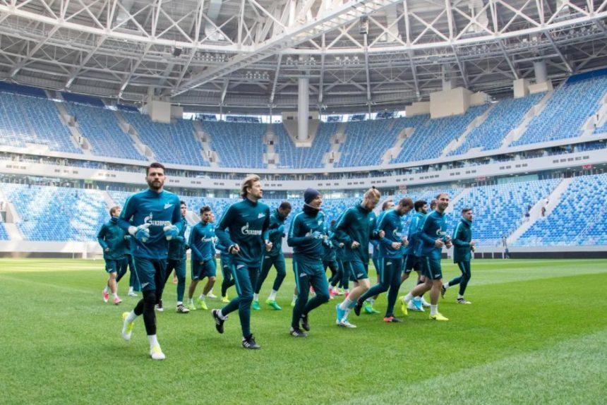 Тренировка сине-бело-голубых перед матчем с «Уралом» на новом стадионе зенит арена