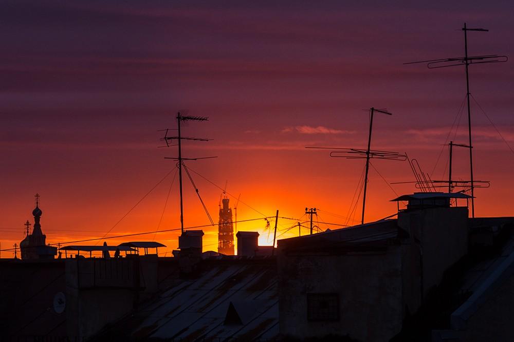 лахта-центр петербург закат