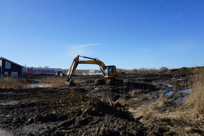 строительство земляные работы экскаватор пулковское шоссе