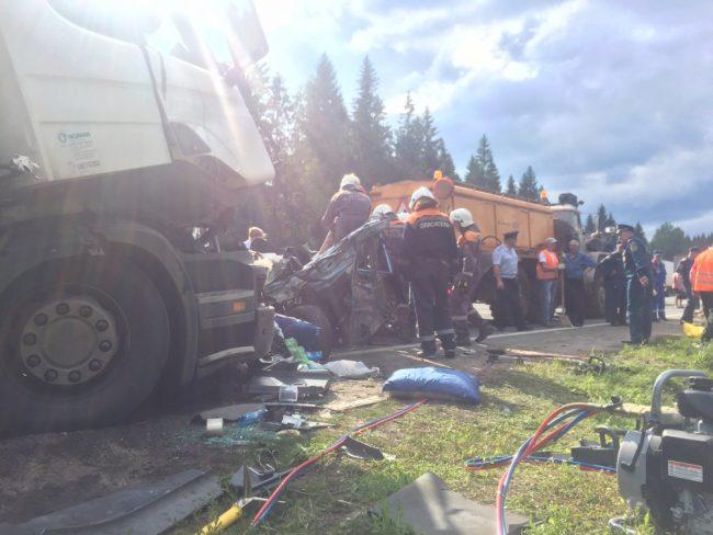 Смертоносная авария под Новгородом: столкнулись три грузового автомобиля итри легковушки