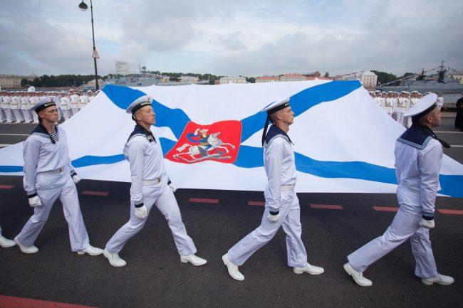 парад день военно-морского флота вмф моряки военные корабли андреевский флаг