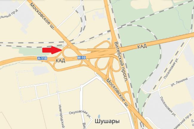 Наразвязке КАД сПулковским шоссе на100% перекроют съезд