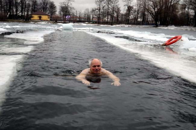 14-31.01.2016 - морж купается в пруду Московского парка Победы