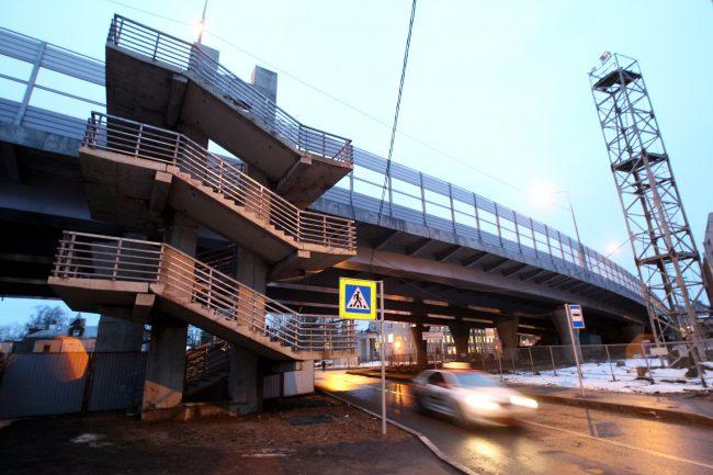 Поклонногорский путепровод строительство дорога пешеходный переход