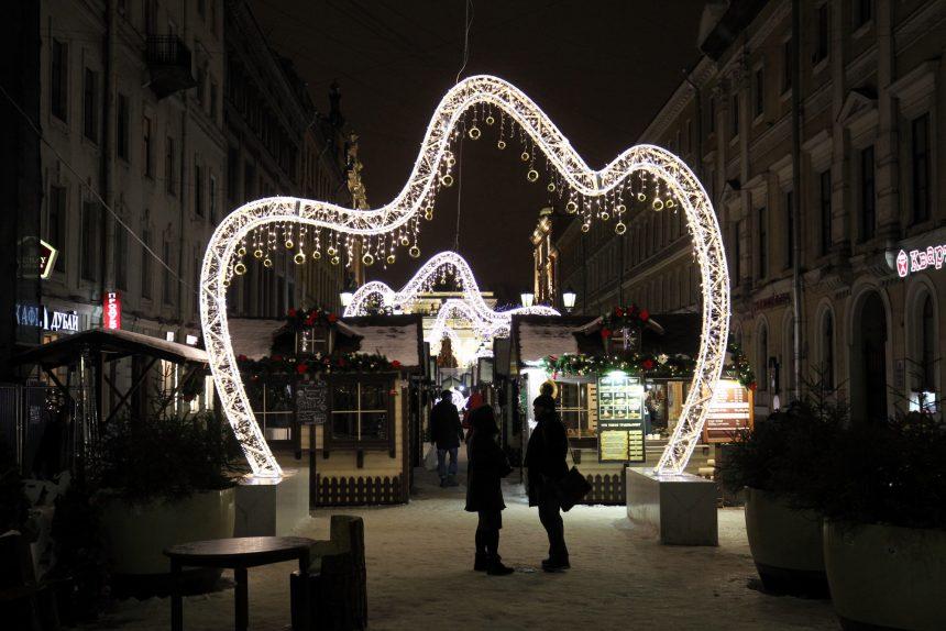 новогоднее оформление Малая Садовая улица