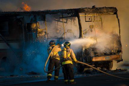 пожар, пожарные, огонь, автобус