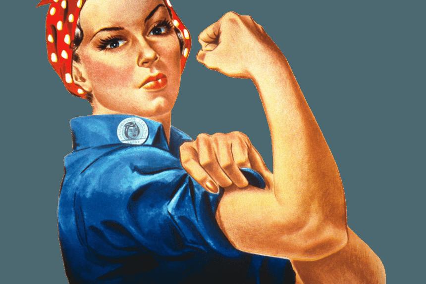 девушка, плакат, военные, феминизм