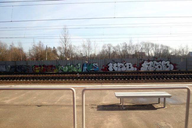 полоса отвода железной дороги граффити забор платформа Обухово