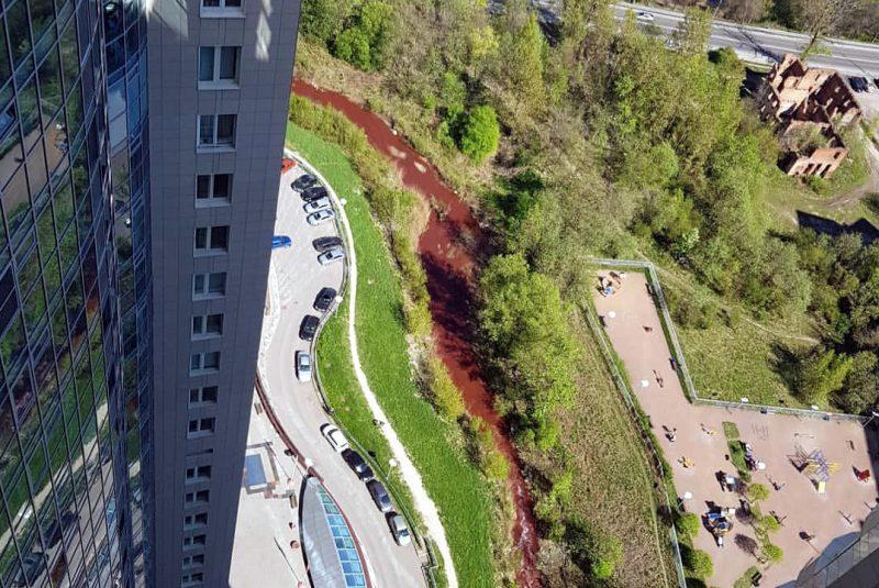 В северной столице приток Невы окрасился вкрасный цвет