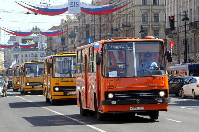 парад ретротранспорта автобусы