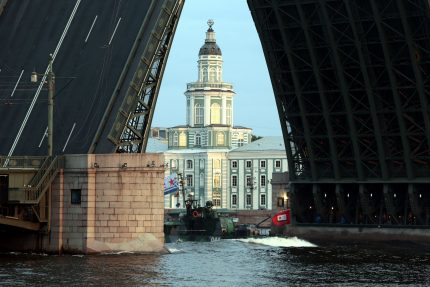 репетиция военно-морского парада военные корабли разведённый Дворцовый мост