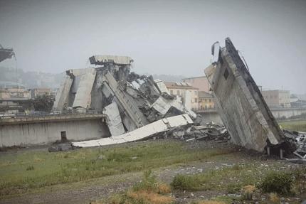 обрушение автомобильного моста в Генуе
