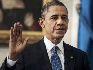 Барак Обама приносит присягу, фото Reuters