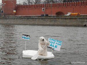 медведь на льдине у кремля, фото с сайта гринпис