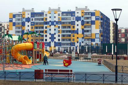 ленинградская область новый оккервиль кудрово новостройки строительство жилые дома квартал вена детская площадка дети