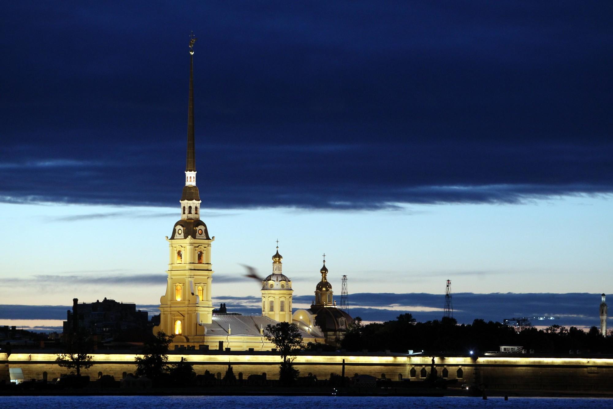 Петропавловская крепость тучи закат вечер белые ночи