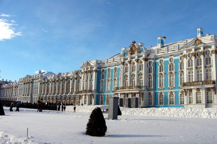 царское село пушкин екатерининский дворец зима снег