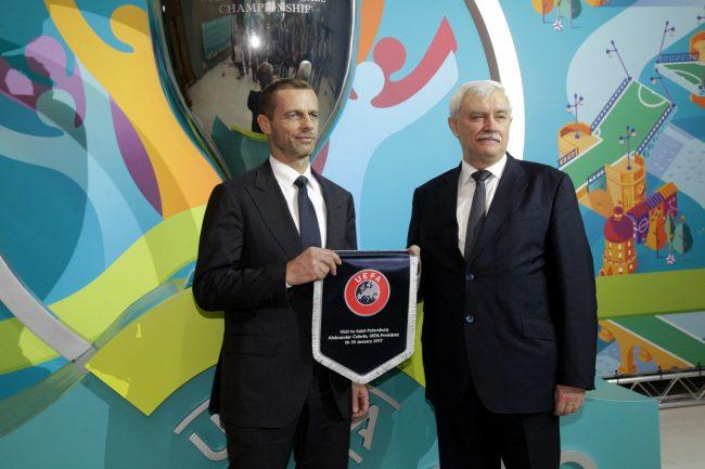 представление логотипа Петербурга Евро-2020 чемпионат Европы по футболу Георгий Полтавченко Александр Чеферин президент УЕФА