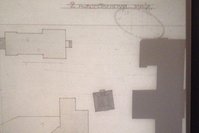 чертеж, план исторических зданий рождественские советские улицы