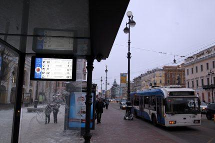 умная остановка общественного транспорта невский проспект гостиный двор троллейбус