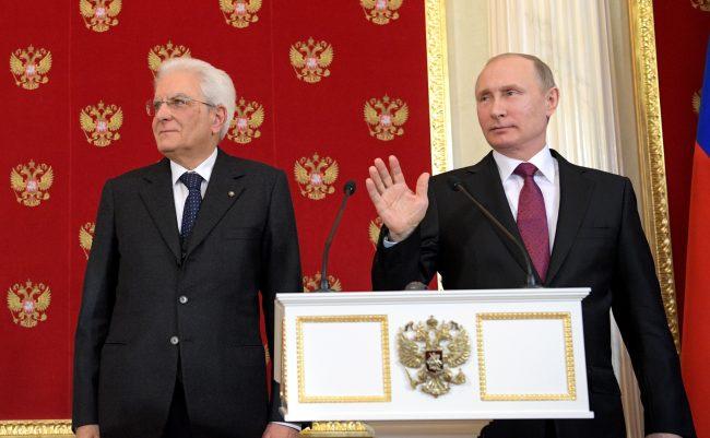 Владимир Путин и президент Италии Серджио Маттарелла