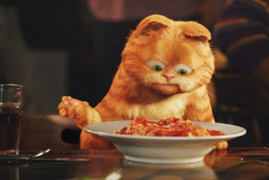 кот Гарфилд еда диета похудение