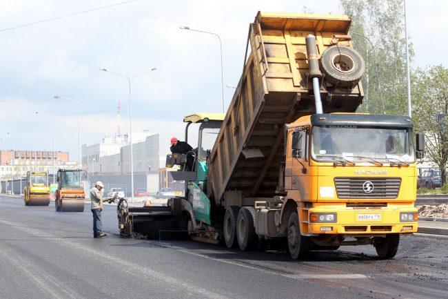 дорожное строительство дорожные работы набережная обводного канала асфальтирование