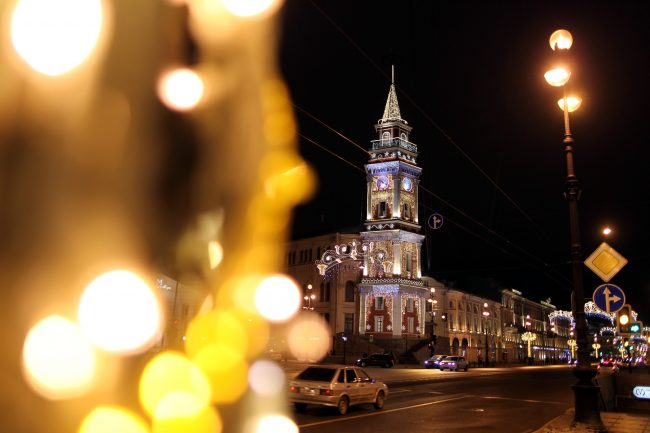 Новогоднее оформление Невский проспект Дума