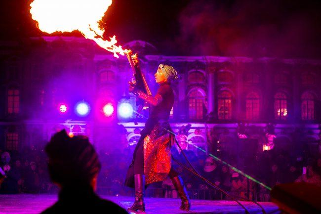 Зимний вечер света Царское село костюмированные артисты огненное шоу