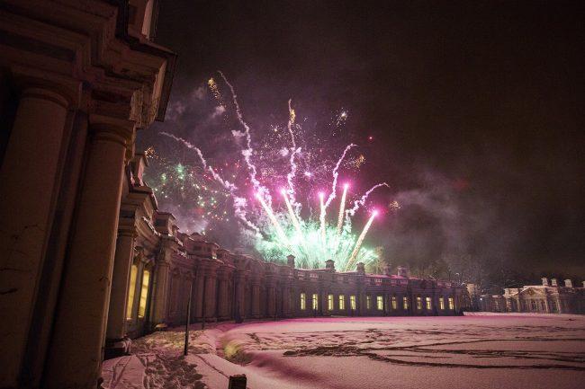 Зимний вечер света Царское село фейерверк