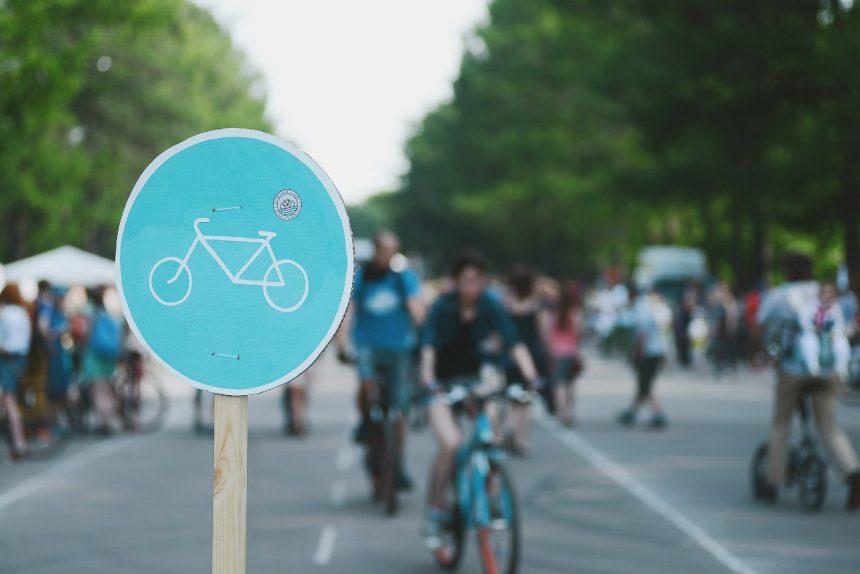 велодень, велосипед, знак, дорога
