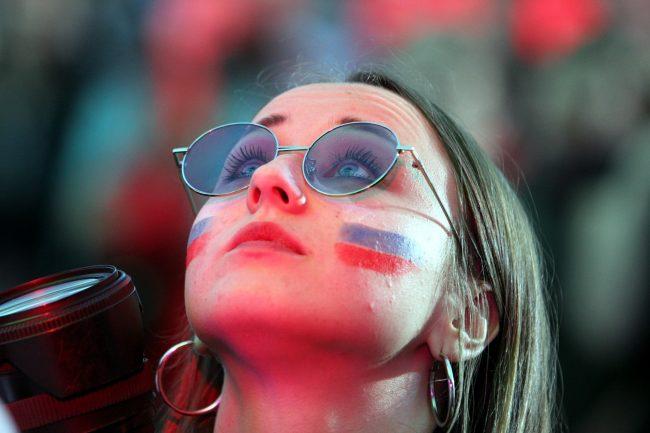 ЧМ-2018 футбол матч Россия Хорватия болельщики фанаты фанзона красивая девушка