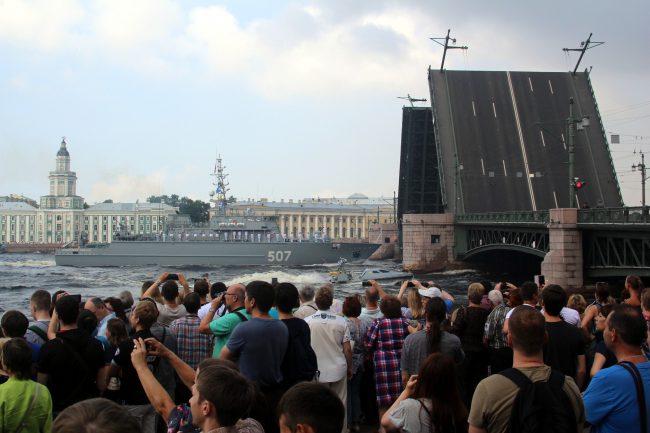 репетиция день ВМФ главный военно-морской парад военные корабли Дворцовый мост