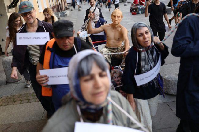 """""""Весна"""", акция против пенсионной реформы, Путин, повозка"""