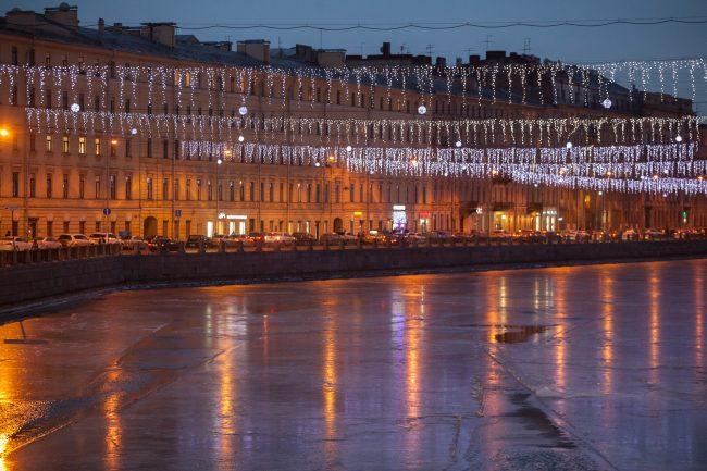 невский проспект подсветка праздник новый год рождество река канал вода новогодние украшения