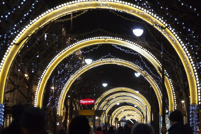 невский проспект подсветка праздник новый год рождество новогодние украшения