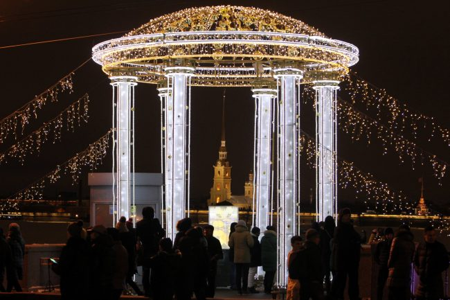 новый год 2019 новогодние праздники Дворцовый мост Петропавловская крепость