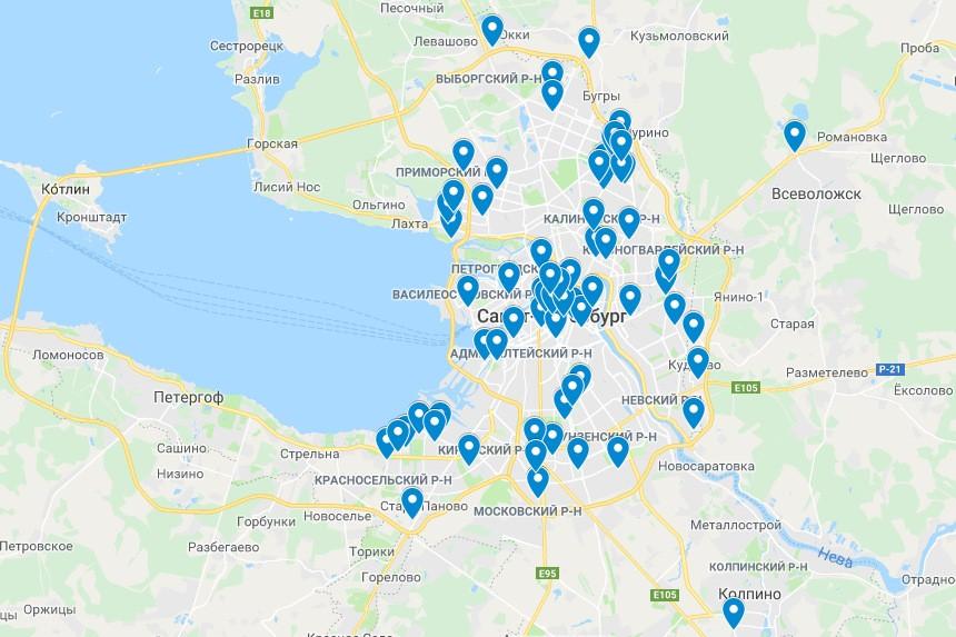 карта эвакуированных объектов