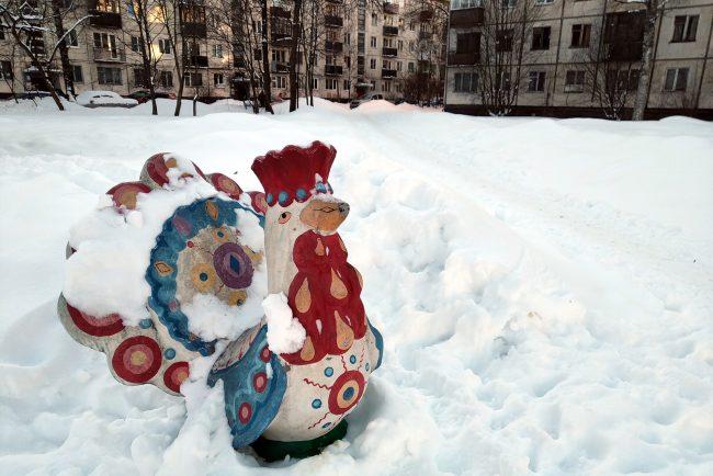 скульптура курица дымковская игрушка